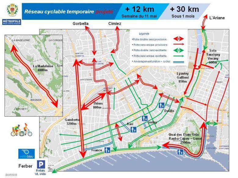 Le plan vélo de Nice : pour le déconfinement les cyclistes découvrent 12 km de nouvelles pistes dès le 11 mai. / © Ville de Nice