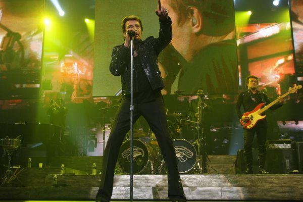 Johnny Hallyday en concert au Palais Nikaïa en 2009.
