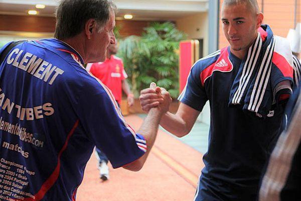 Clément d'Antibes avec Karim Benzema en Lituanie en 2012