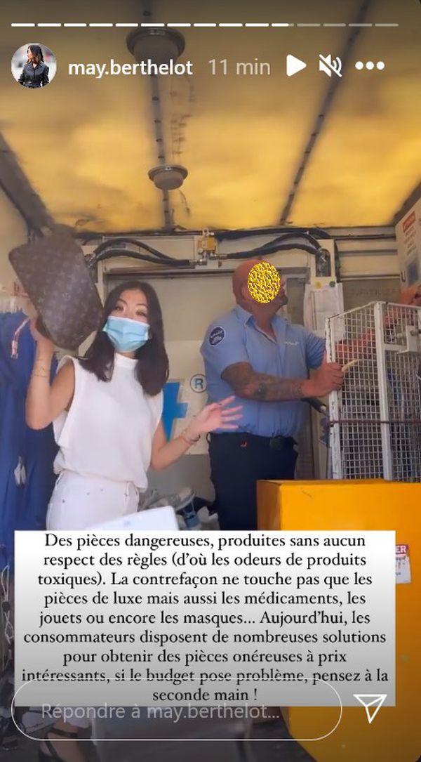 L'influenceuse May Berthelot participe à une destruction de contrefaçons à Cannes